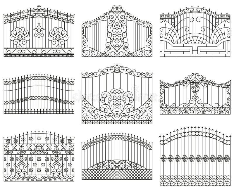 Gesmede geplaatste poorten Decoratieve metaalpoorten met wervelingen, pijlen en ornamenten stock illustratie