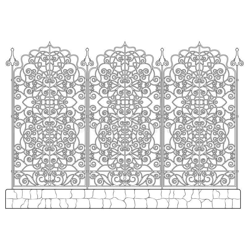 Gesmede modulaire omheining stock illustratie