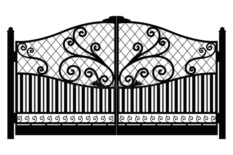 Gesmede poort Het detail van de architectuur Zwarte gesmede ijzerpoort met decoratief die rooster op witte achtergrond wordt ge?s stock illustratie