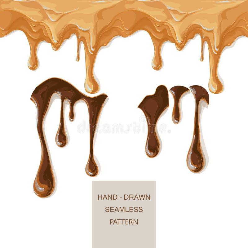 Gesmolten chocoladekaramel vector illustratie