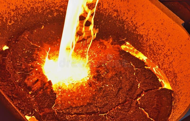Gesmolten die metaal van gietlepel wordt gegoten royalty-vrije stock afbeelding