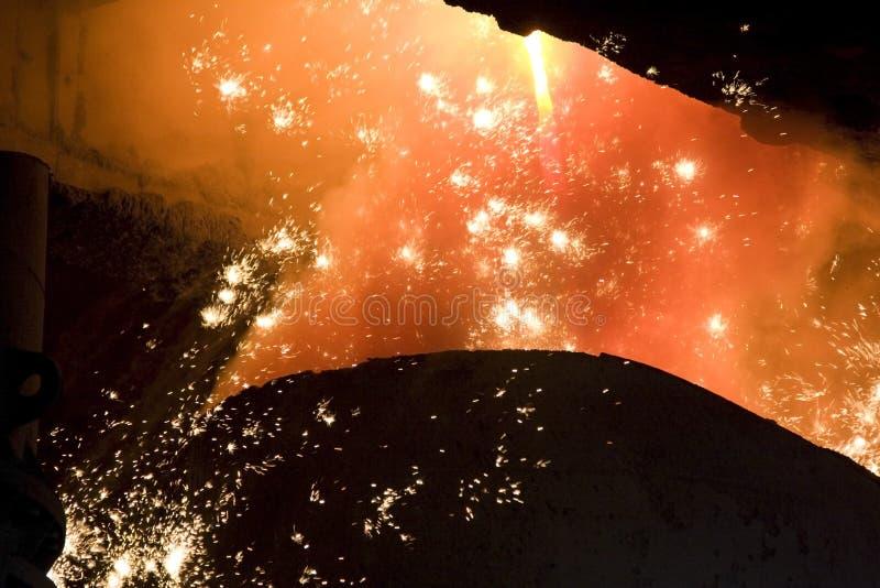 Gesmolten staal. stock afbeelding