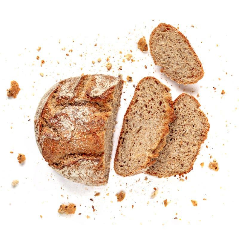 Gesneden brood dat op witte achtergrond wordt geïsoleerdi Het verse Brood snijdt dicht omhoog Bakkerij, voedselconcept Hoogste me royalty-vrije stock foto