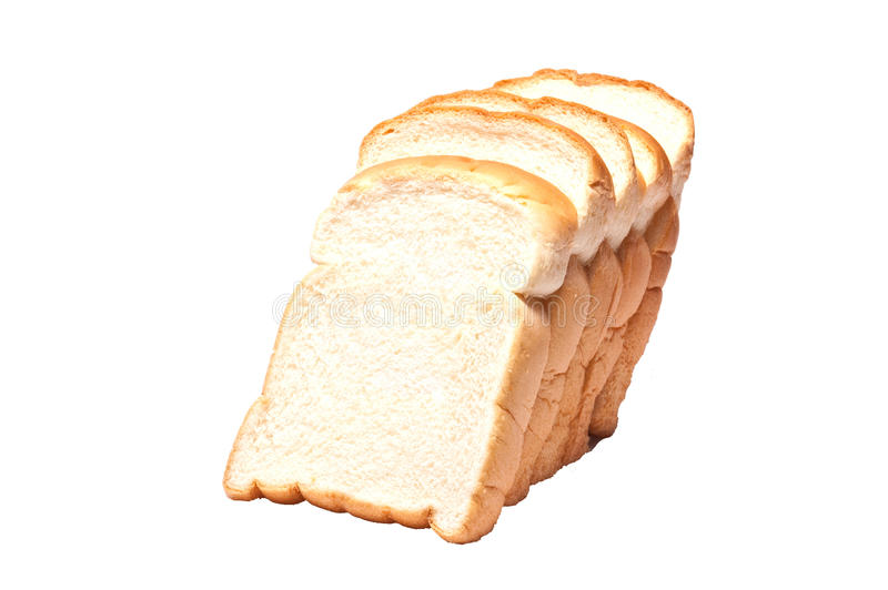Gesneden brood op witte achtergrond stock foto