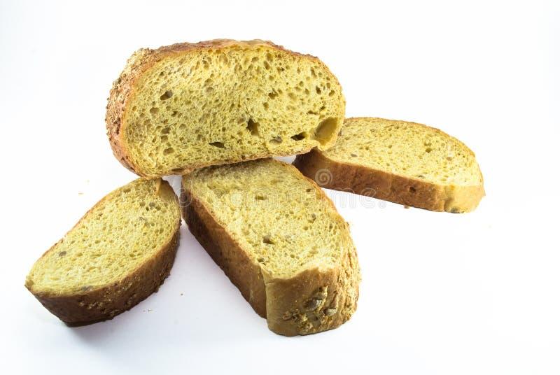 Gesneden die broodbrood op witte achtergrond wordt geïsoleerd royalty-vrije stock afbeelding