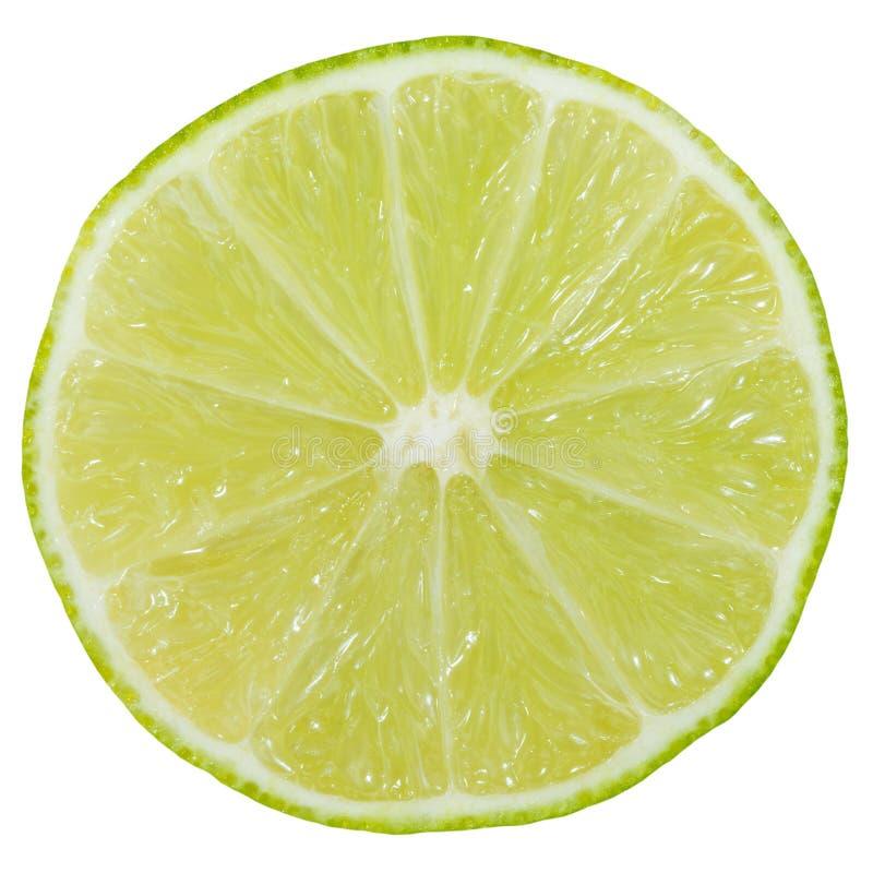 Gesneden die het fruit van de kalkplak op wit wordt geïsoleerd royalty-vrije stock afbeelding