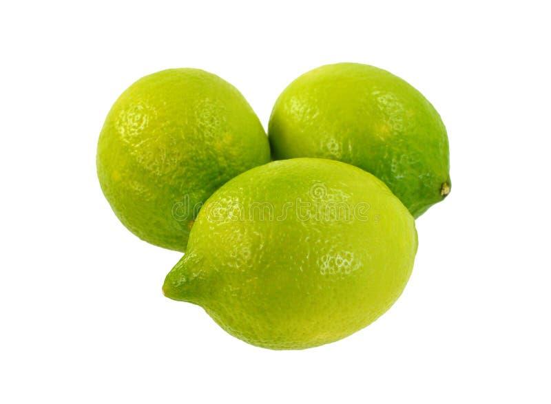 Gesneden die kalkfruit op witte achtergrond wordt geïsoleerd stock afbeeldingen
