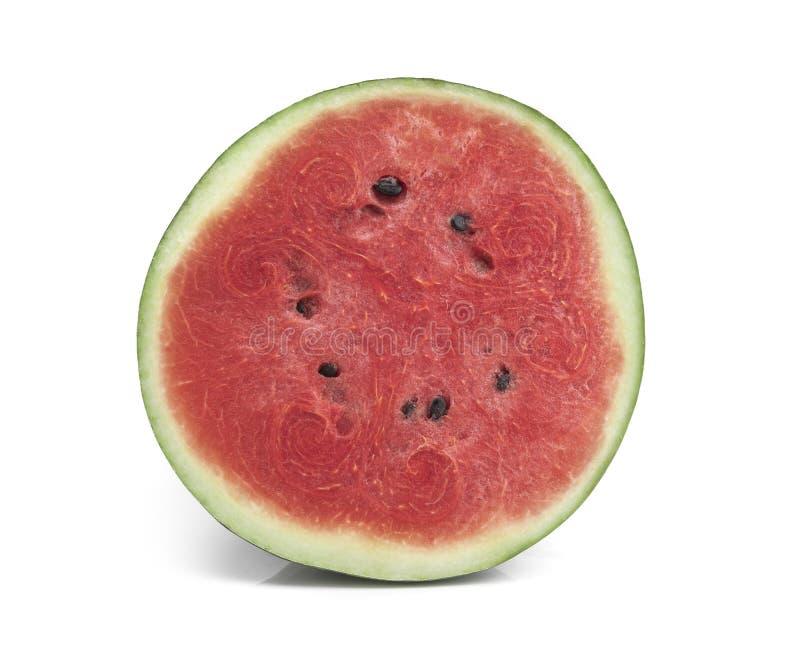 Gesneden die van watermeloen op witte achtergrond wordt ge?soleerd stock foto's