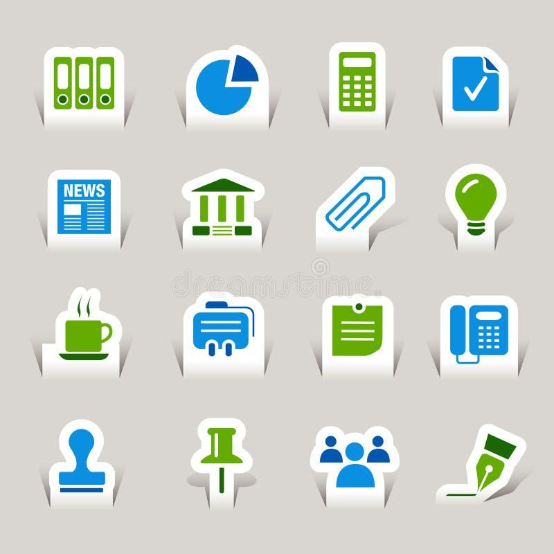 Gesneden document - de Bedrijfspictogrammen van het Bureau en stock illustratie