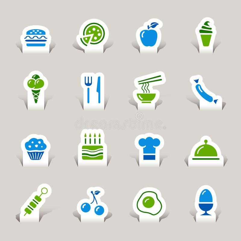 Gesneden document - de Pictogrammen van het Voedsel royalty-vrije illustratie