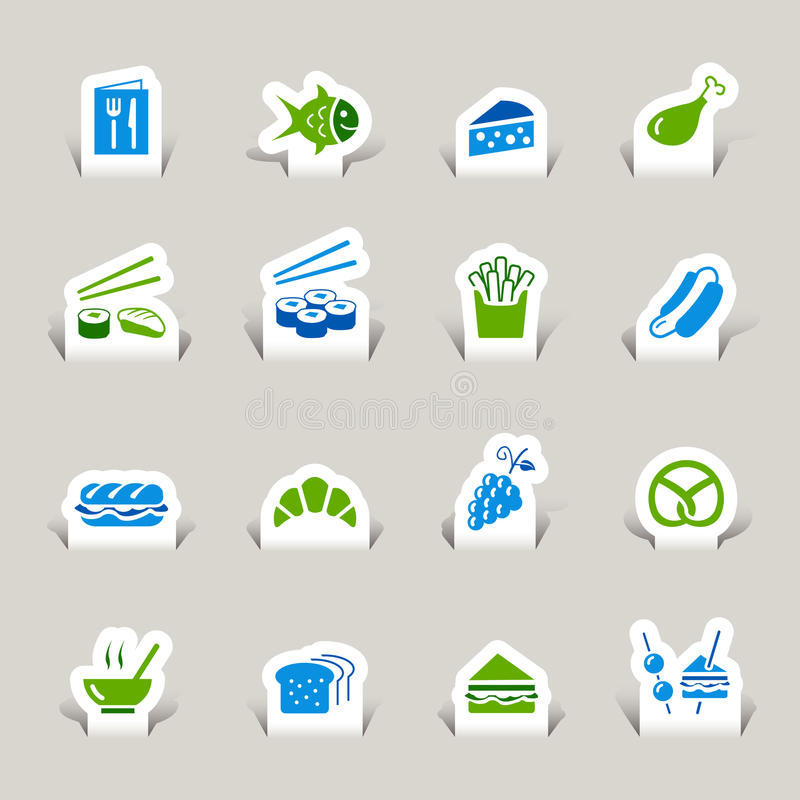 Gesneden document - de Pictogrammen van het Voedsel vector illustratie