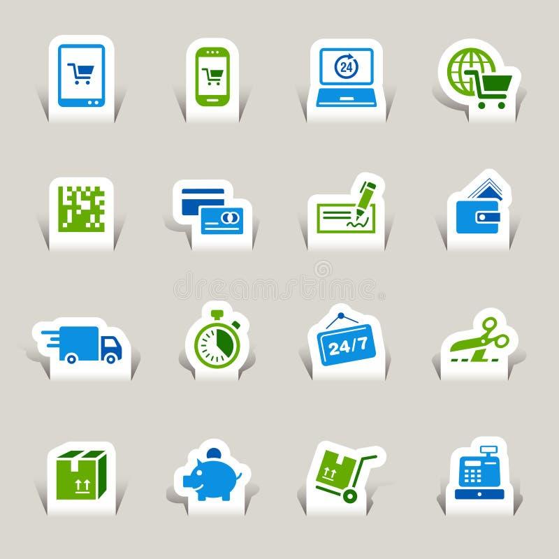 Gesneden document - het Winkelen pictogrammen stock illustratie