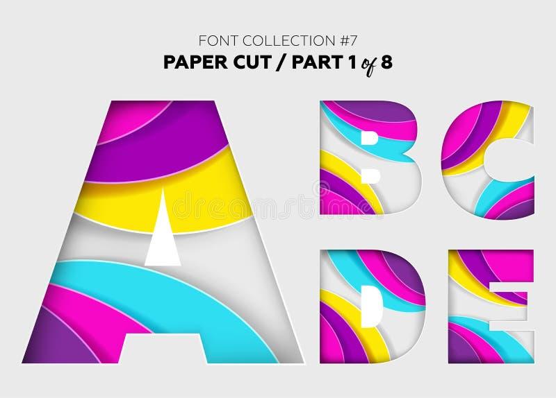 Gesneden Document Kunst, Doopvontontwerp Mooie die 3D Brieven worden bewerkt met royalty-vrije illustratie