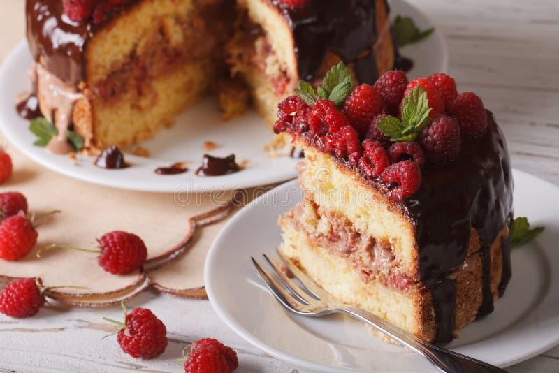 Gesneden frambozencake met verse horizontale dicht omhoog bessen royalty-vrije stock afbeelding