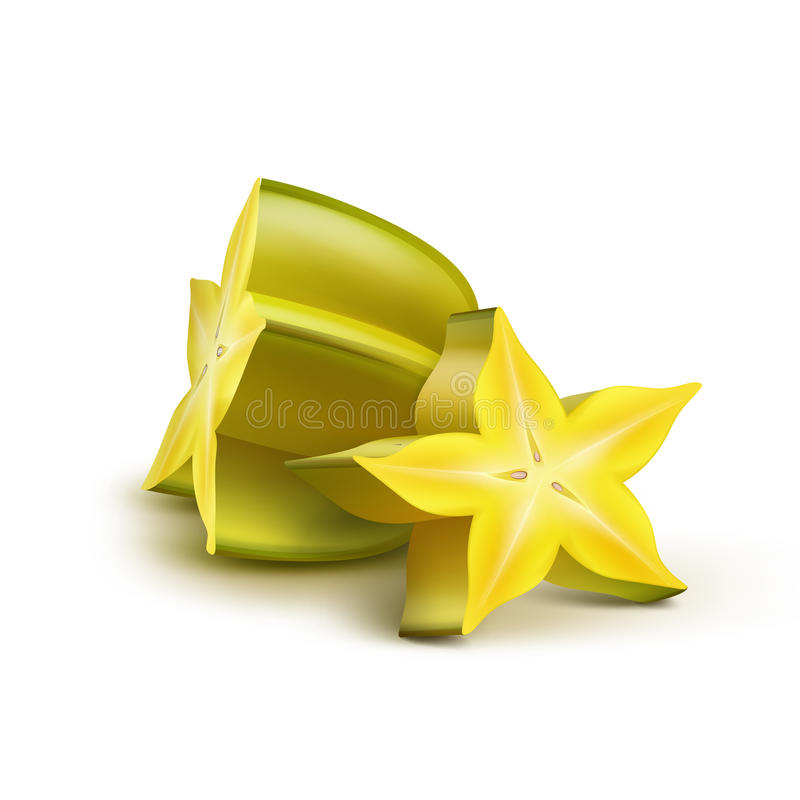 Gesneden gele carambola vector illustratie