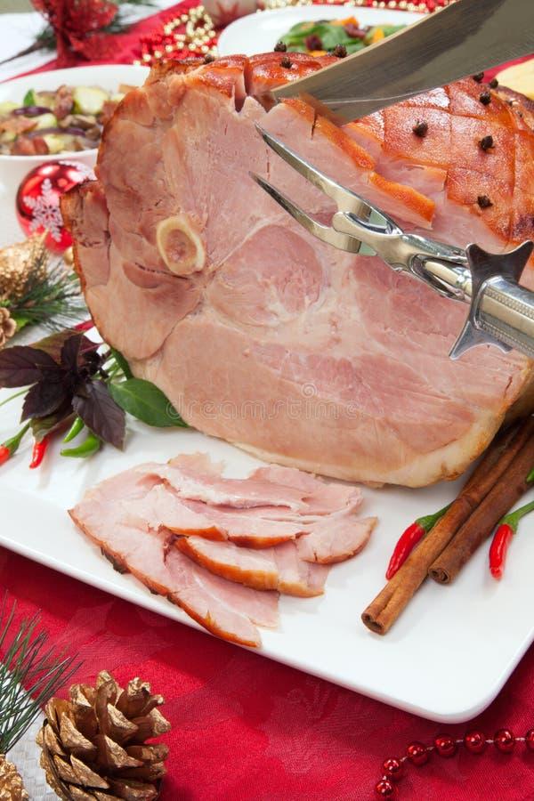 Gesneden Geroosterde Gekruide Ham stock afbeeldingen
