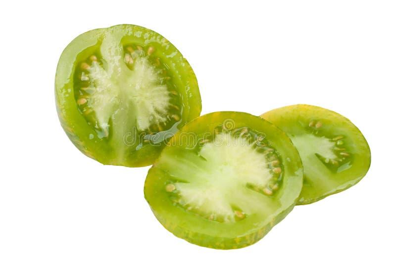Gesneden Groene Gestreepte Tomaat stock foto's