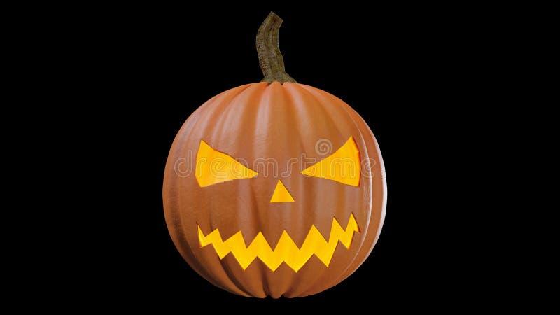 Gesneden Halloween die thuis Jack o lantaarn 3d illustratie pumpking stock illustratie