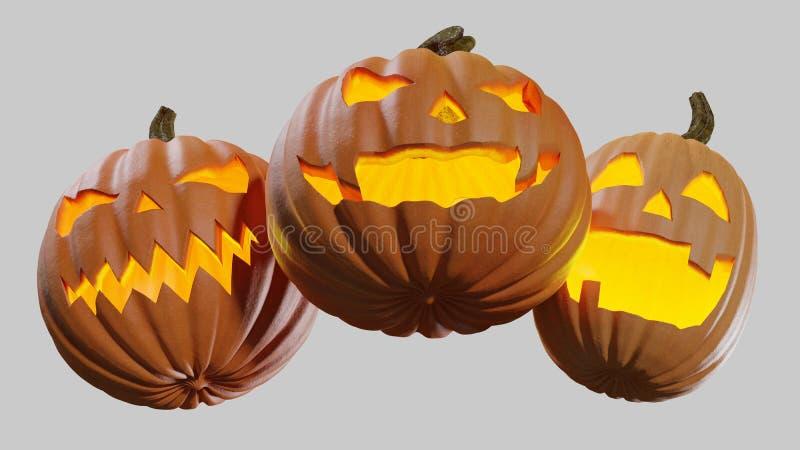 Gesneden Halloween die thuis Jack o lantaarn 3d illustratie pumpking vector illustratie