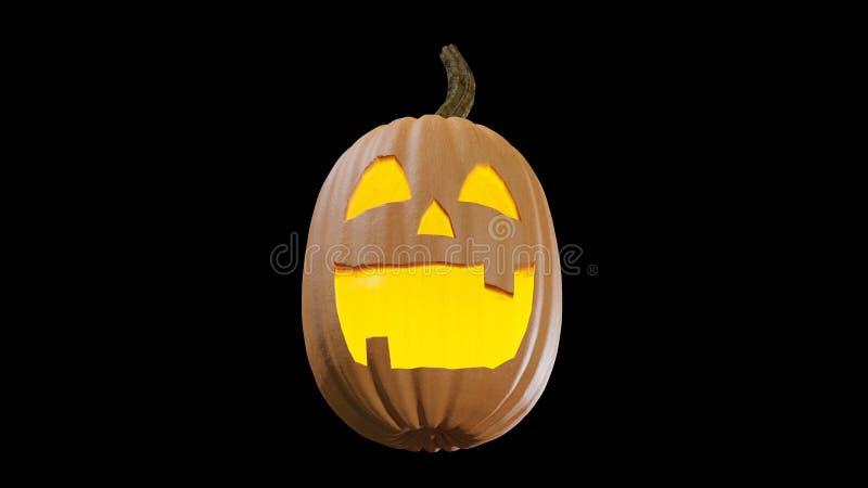 Gesneden Halloween die thuis Jack o lantaarn 3d illustratie pumpking royalty-vrije illustratie