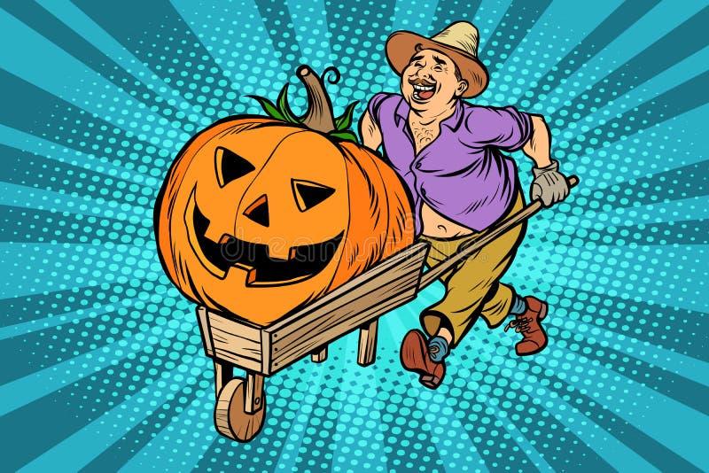 Gesneden Halloween pompoen Landbouwer, mens met een houten kruiwagen stock illustratie