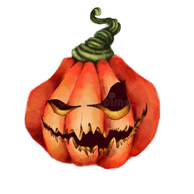 Gesneden Halloween pompoen vakantie, vrees, verschrikking, nachtmerrie Illustratie vector illustratie