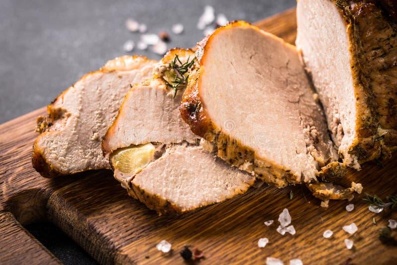 Gesneden het vlees van het braadstukvarkensvlees stock fotografie