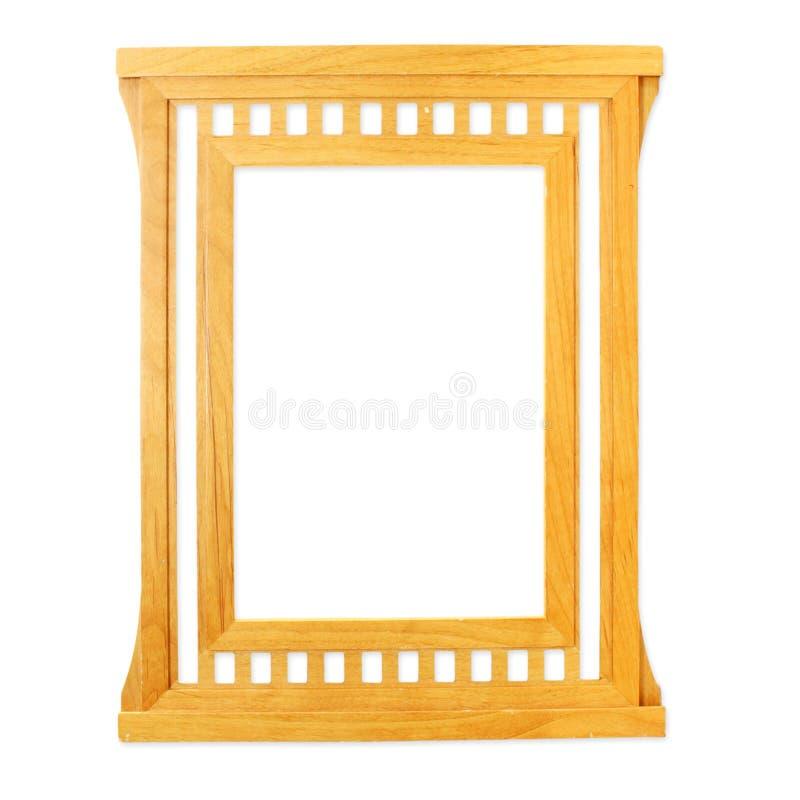 Gesneden houten die kader op witte achtergrond wordt geïsoleerd royalty-vrije stock afbeeldingen
