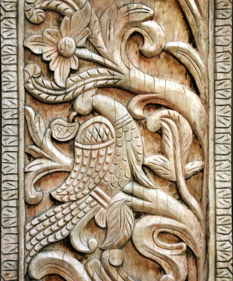 Gesneden houten vogeldetail stock fotografie