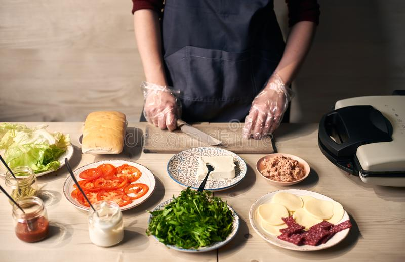 Gesneden ingrediënten voor panini Sandwichgrill, kaas, salami, tomaat, tonijn, boter, brood, salade op platen en sausen stock foto