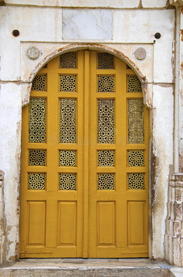 Gesneden jali op de buitenmuur van Sarkhej complexe Roza, moskee en graf Makarba, Ahmedabad, Gujarat royalty-vrije stock foto's