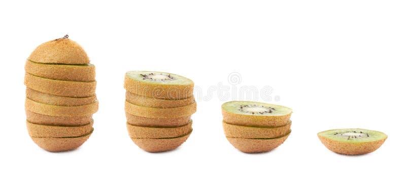 Gesneden kiwifruit in vier beelden stock afbeelding