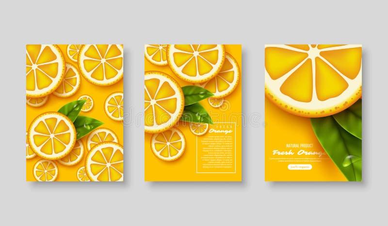 Gesneden oranje affichereeks royalty-vrije illustratie