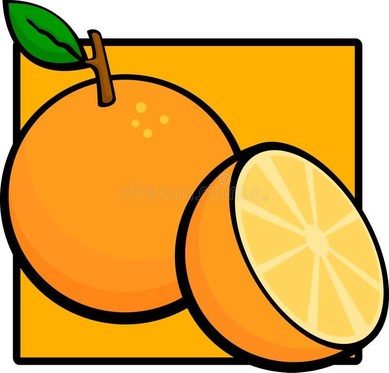 Gesneden oranje fruit royalty-vrije illustratie