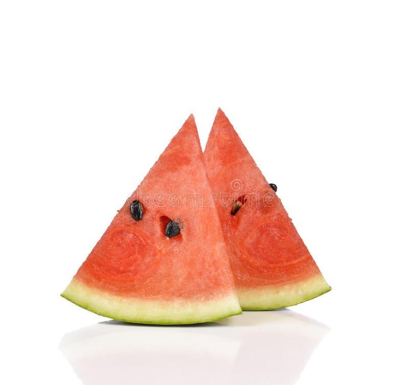 Gesneden rijpe die watermeloen op witte achtergrond wordt geïsoleerd royalty-vrije stock afbeelding