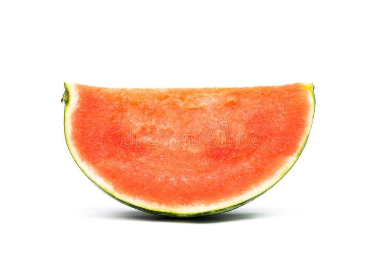 Gesneden rijpe die watermeloen op witte achtergrond wordt ge?soleerd royalty-vrije stock foto's