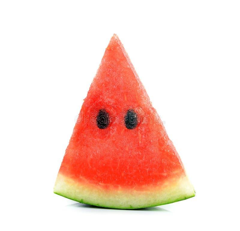 Gesneden rijpe watermeloen op witte achtergrond stock afbeeldingen