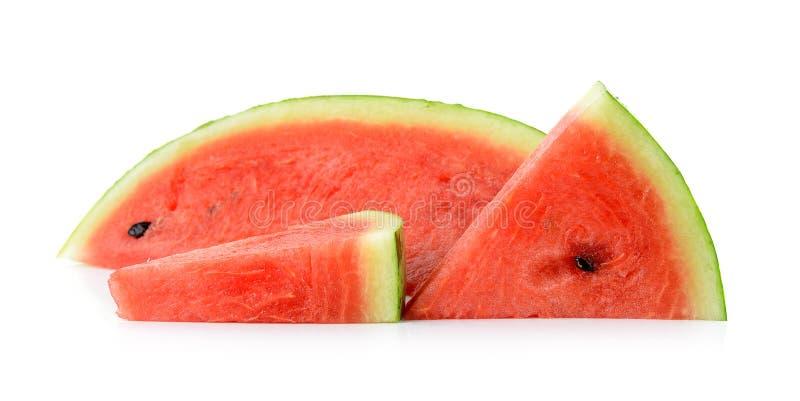 Gesneden rijpe watermeloen op witte achtergrond stock foto