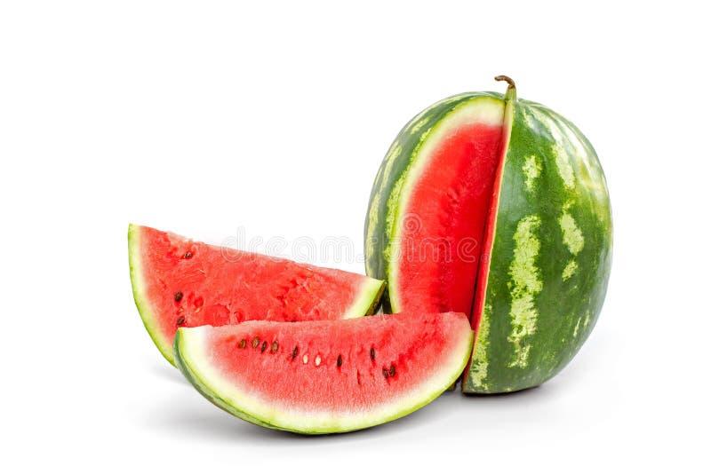 Gesneden rijpe watermeloen op witte achtergrond Close-up van watermelo royalty-vrije stock foto's