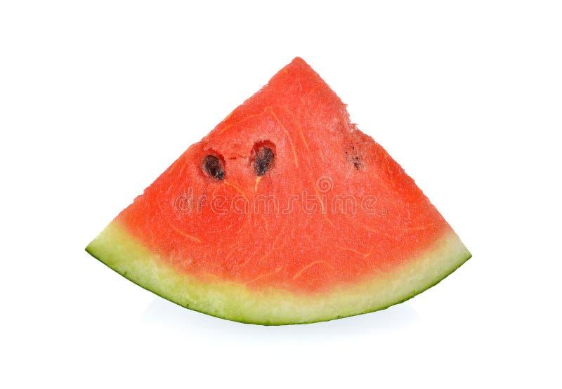 Gesneden rode watermeloen met zaad op witte achtergrond stock foto's