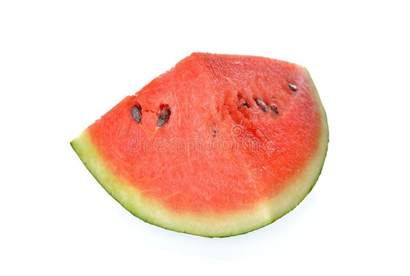 Gesneden rode watermeloen met zaad op witte achtergrond royalty-vrije stock afbeeldingen