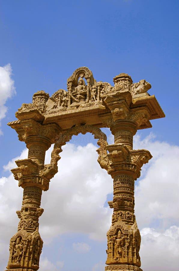 Gesneden ruïnes van Kirti Toran, Vadnagar, Gujarat stock fotografie