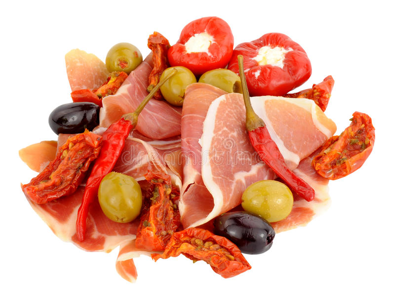 Gesneden Serrano Ham With Olives And Peppers royalty-vrije stock foto