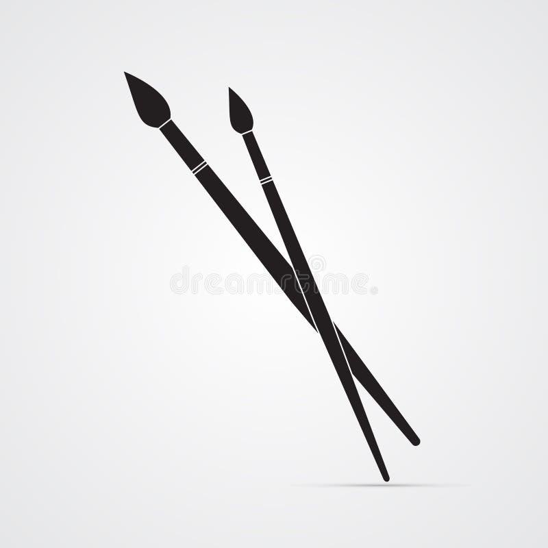 Gesneden silhouet vlak pictogram, eenvoudig vectorontwerp Twee gekruiste penselen Kunstenaars` s borstels vector illustratie