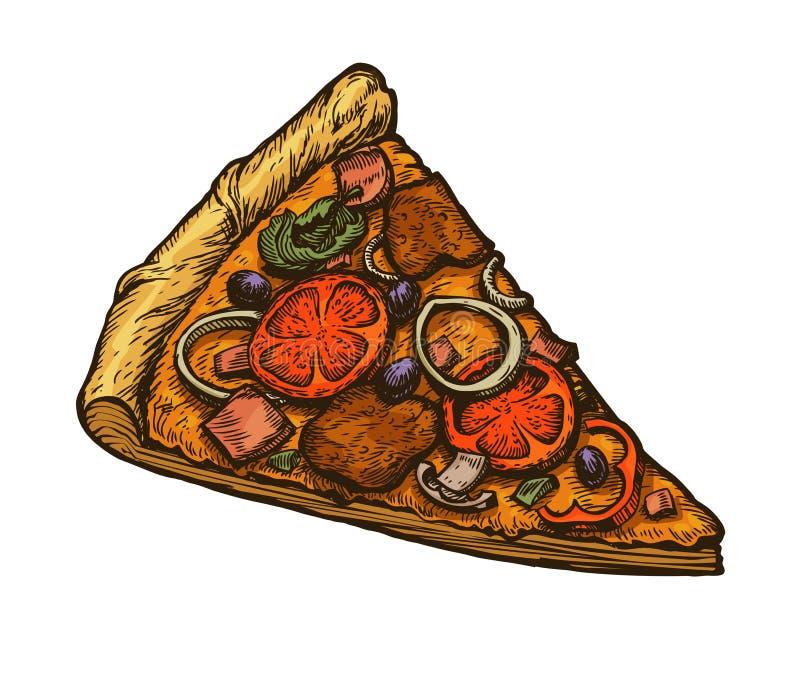 Gesneden stuk van Italiaanse pizza Vector illustratie die op witte achtergrond wordt geïsoleerdd stock illustratie