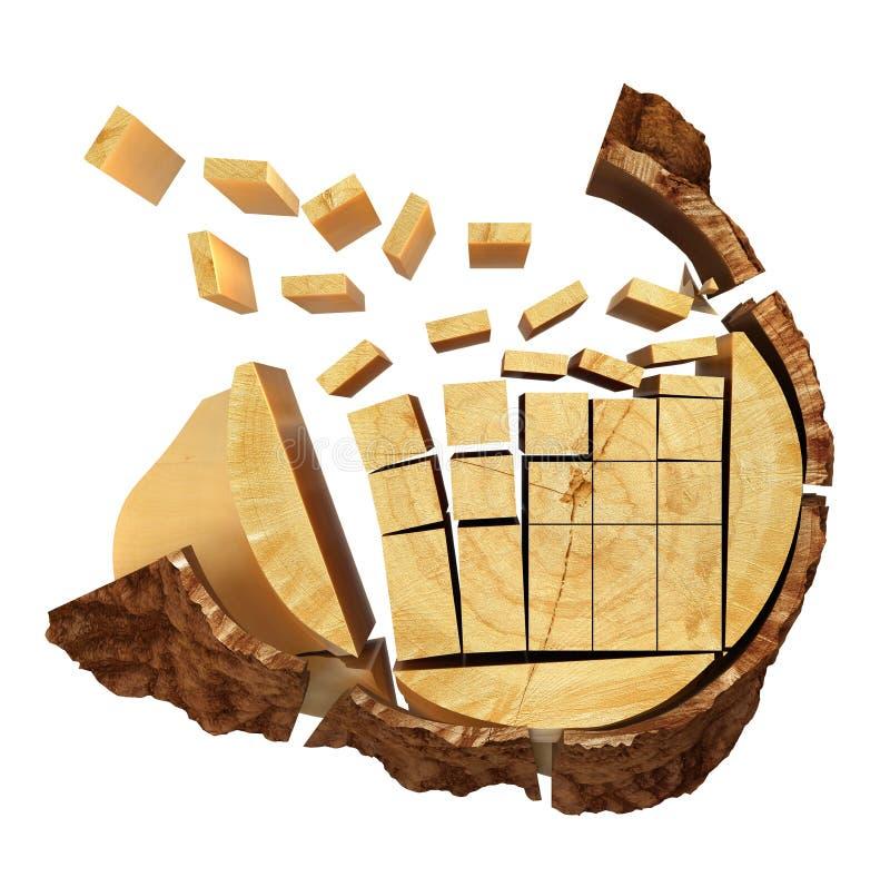 Gesneden Timmerhout van het logboek stock illustratie