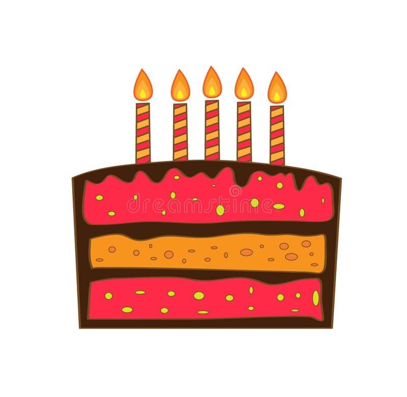 Gesneden verjaardagscake met kaarsen royalty-vrije stock foto