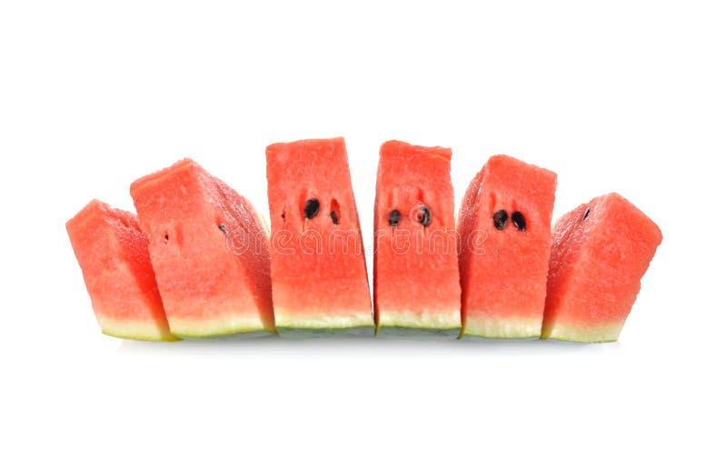 Gesneden watermeloen met zaad op witte achtergrond royalty-vrije stock fotografie