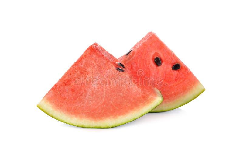 Gesneden watermeloen met zaad op witte achtergrond royalty-vrije stock foto's