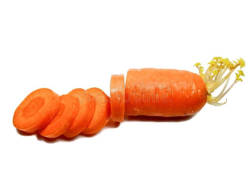 Gesneden wortel, Oranje wortel, Groente, Wortelbesnoeiing stock foto